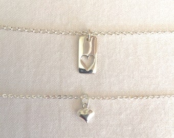 Mother Daughter Necklace, Mommy and Me, Family Heart Necklace, Sterling Silver Jewelry, Mother's Day Gift, Rolo Chain, Mom Jewelry