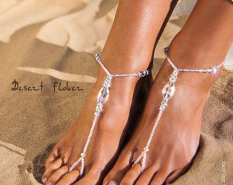 Crystal Beaded barefoot sandals, Bridal foot jewelry, Barefoot Sandals wedding, Beach Wedding accessory, Footless sandals, Barefoot sandles