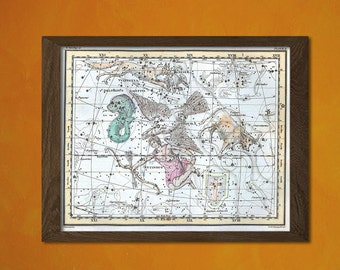 Celestial Map 1822 - Astrology Astronomy Decor Astrological Prints Star Map Prints Celestial Poster   Reproductiont