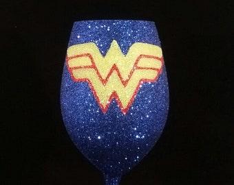 Wonder Woman Inspired Glitter Wine Glass
