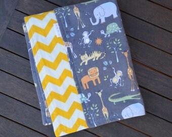 Grey & Yellow Flannelette Animal/Chevron Baby Blanket 114x100cm