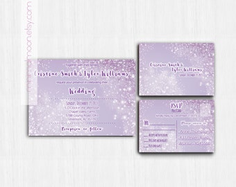 DIGITAL, Winter Wonderland, Wedding Invitation, winter wedding invitation, purple Wedding invitation, Winter wedding invite, winter weddings