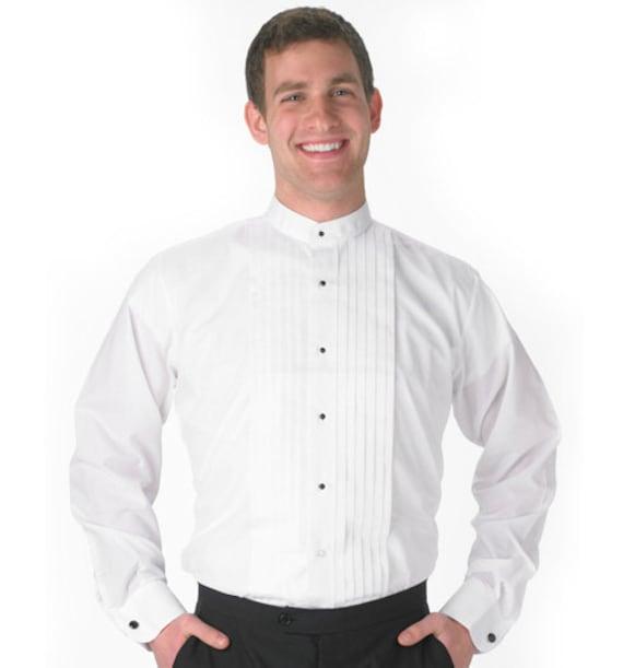 Mens banded collar white tuxedo shirt for Tuxedo shirts for men