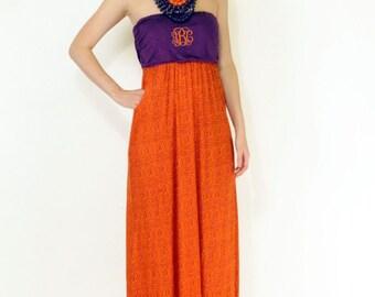CLEMSON Game Day Dress- Monogrammed Game Day Dress- Football Game Day- Monogram Maxi Dress- Purple and Orange Dress