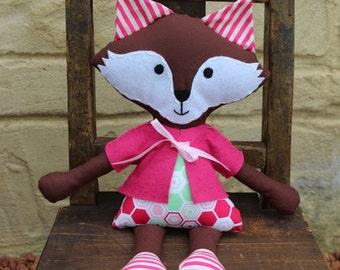 Soft toy girl fox, handmade animal ragdoll, softy, plush toy