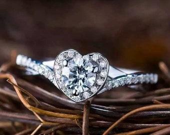 Heart 18k White Gold Diamond Ring Band Engagement Wedding Birthday Anniversary Valentine's