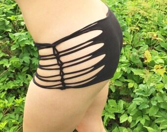 Festival Shorts, Braided Booty Shorts, Sexy Shorts, edm shorts, rave shorts, yoga, gift for her, gift for women,pole clothes,boy shorts