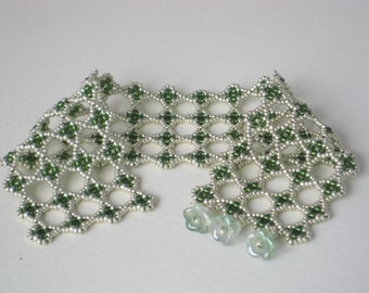 Lacy beadwork cuff bracelet in silver and mossy green