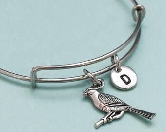 Cardinal bangle, cardinal bracelet, cardinal charm, personalized bracelet, expandable bangle, charm bangle, initial bracelet, monogram
