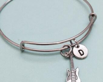 Electric guitar bangle, electric guitar charm bracelet, guitar charm, instrument, expandable bangle, personalized bracelet, initial bracelet