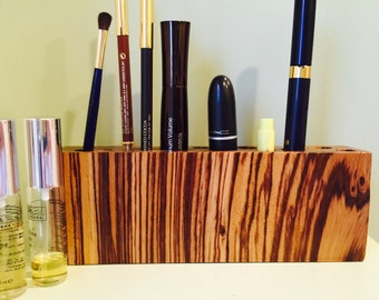Exotic zebra wood MAKEUP ORGANIZER, beauty organize, large, approximatley 8 inches long, 3 inches tall and 1 1/4 inches wide