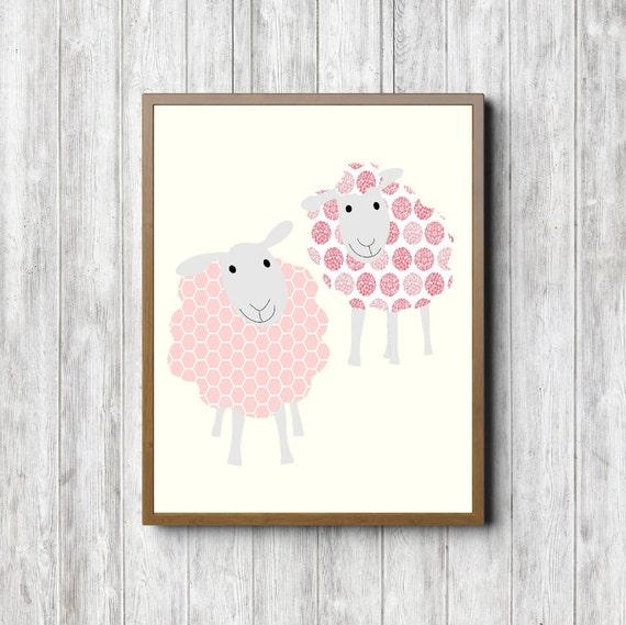 Sheep Wall Art Home Decor ~ Sheep printable wall art kids room nursery decor