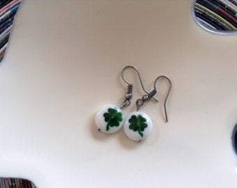 Lucky glass shamrock earrings. Perfect for St Patrick's Day or everyday