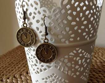 Time After Time dangle handmade watch face earrings.