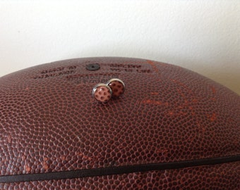 Are you ready for football? Perfect football pattern silver earrings to go tailgating in.