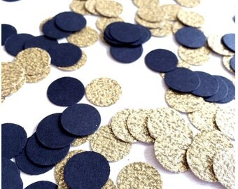Black & Gold Glitter Confetti | Circle Confetti | Bridal Shower | Table Decor | Wedding | Baby Shower | Small Confetti | Gold
