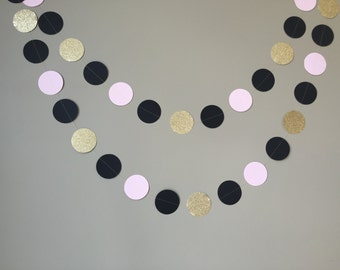 Pink, Black and Gold Glitter Circle Garland, Bridal Shower Decoration, Wedding, Birthday, Party Decor, Pink and Black Decor, Paper Garland