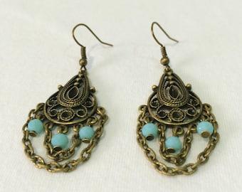 Long bronze earrings - Boho dangle earrings - Long chain earrings - Bronze chandelier earrings - Dangle earrings - Bohemian long earrings