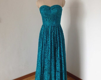 Sweetheart Teal Lace Long Bridesmaid Dress