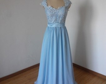 Cap Sleeves Sweetheart Light Sky Blue Lace Chiffon Long Bridesmaid Dress