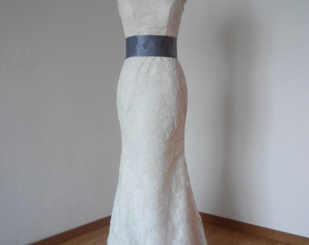 Sheath V-back Ivory Lace Long Wedding Dress with Grey Sash and Back Buttons