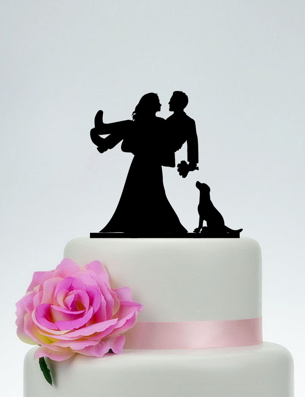 Design Your Own Bride And Groom Cake Toppers : Bride And Groom Cake Topper With A DogWedding Cake