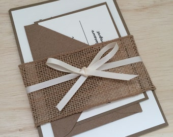 Rustic wedding invitation, kraft wedding invitation, burlap wedding invitation, ribbon invitation, country invitation