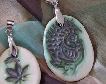 Ceramic pendant, glazed pendant, porcelain pendant, bird pendant