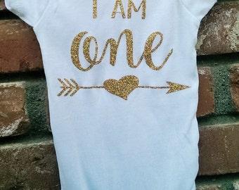 Iam One with heart arrow / First Birthday Onesie