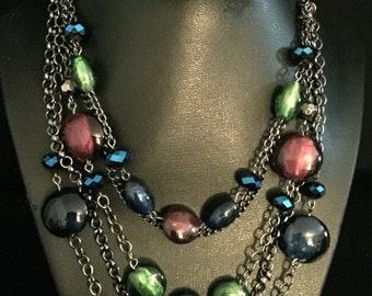 90's Multi-Bead and Chain Necklace                    VG1792