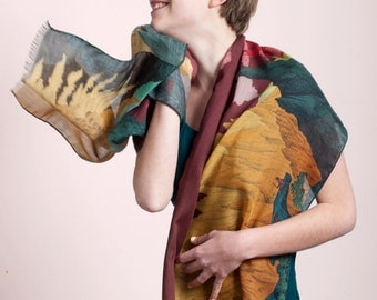 Sales 25 % OFF Wool & Silk's scarf, with spectacular landscape of Volcanoes and Smokes, Plum sky, Hand-drawn