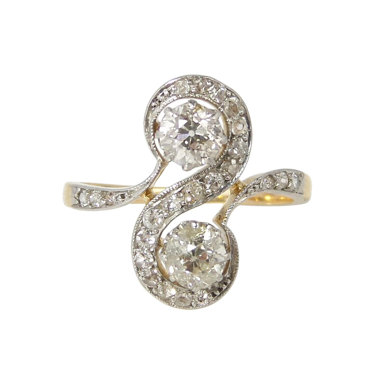 edwardian ring antique gold ring 18ct gold platinum