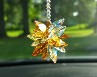 Crystal suncatcher,  suncatcher for car,  hanging crystal,  window decoration,  rear view mirror,  crystal sun catcher,  car ornament