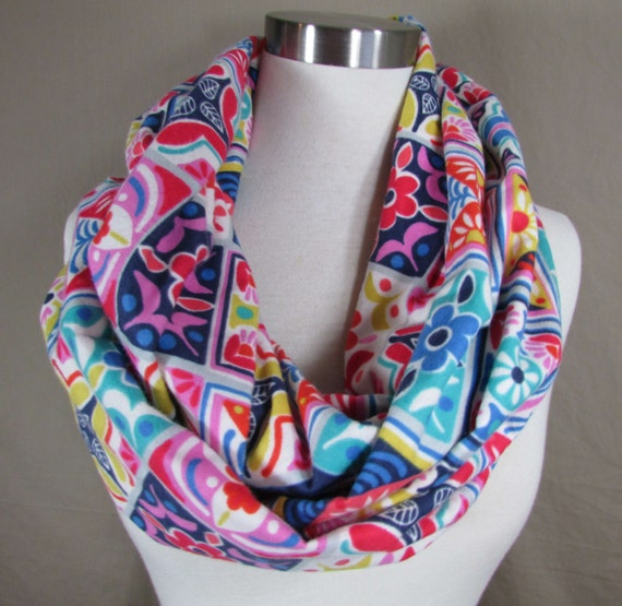 infinity scarf bright colorful floral tile print handmade