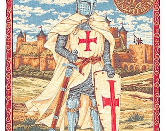 "jacquard woven belgian gobelin wall tapestry hanging Knights Templar 26""x19"" - WT-1284"