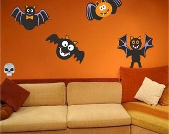 Halloween Kit Decal Murals Decoration Pack Halloween Wall Decals Bat Wall Decals Skull Wall Decals Fun Halloween Window Decal Clings, h19