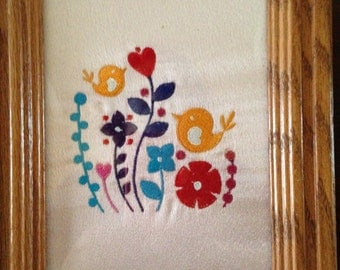 Framed Embroidered flowers and tinny birds