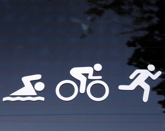 Triathlon (swim, bike, run) decal - car, laptop - free shipping