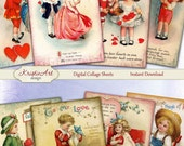 75% OFF SALE Valentine's Day - Digital Collage Sheet Digital Cards C100 Printable Download Image Tags Digital Love Cards ACEO St. Valentines