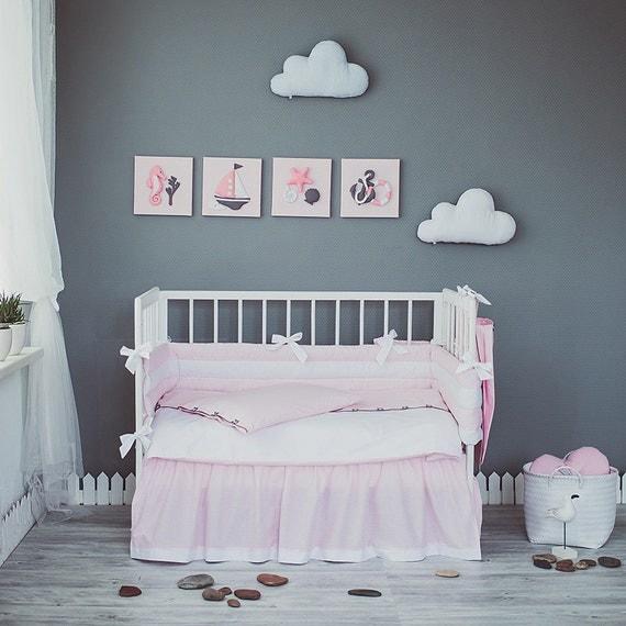White crib bedding set Sea Dreams - Nautical baby girl nursery bedding ...