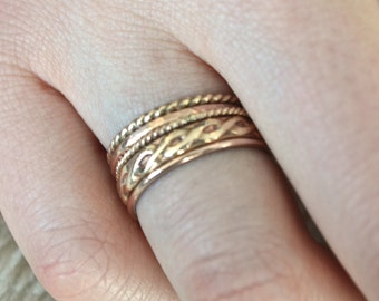 Stacking Ring Opulence in 14k Yellow and Rose Gold Filled