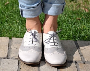 Lenox - Womens Leather Oxfords, Brogue Shoes, Vintage Shoes, Grey Oxfords, Oxford Shoes, Custom Shoes, FREE customization!!!