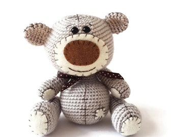 Classic Teddy Bear - Crochet Teddy Bear - Bear Toy - Stuffed Animal - Baby Photo Prop - Baby Keepsake - Teddy Bear Plushie