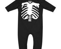 Halloween Skeleton Torso Long Sleeve Unisex Fancy Dress Babygrow Rompasuit