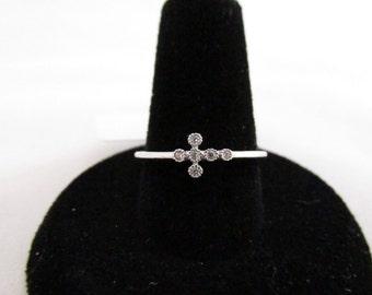 925 Sterling Silver CZ Cross Ring