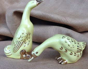 Pair of Vintage Ceramic Geese, Yellow and Gold Geese, Goose Figurine