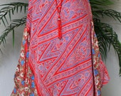Dashing and Artsy, double layered, Bohemian, High Fashion Dress in Vintage Silk, Small to Large.