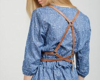 """Brown leather harness """"Femininity"""", body harness women, harness belt"""