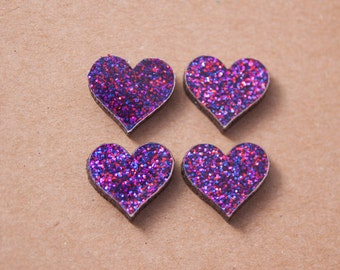 Purple Glitter Laser Cut Acrylic Hearts