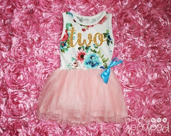 """Two Tutu Dress Glitter Second 2nd Birthday Baby Girl - """"Two"""" 2nd Second Birthday Outfit - Floral Print & Light Pink Skirt with Gold Glitter"""